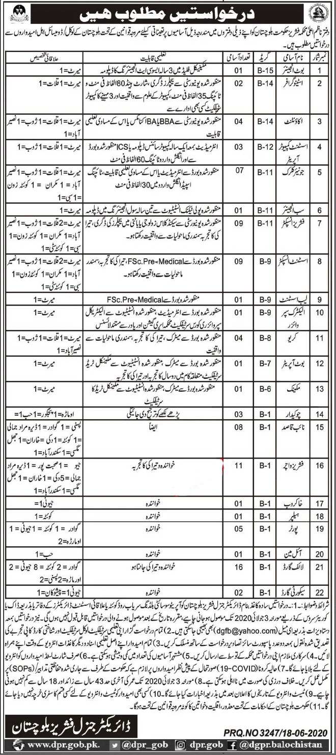 Fisheries Department Jobs 2020