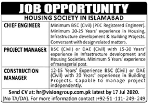 Housing Society Jobs Pakistan