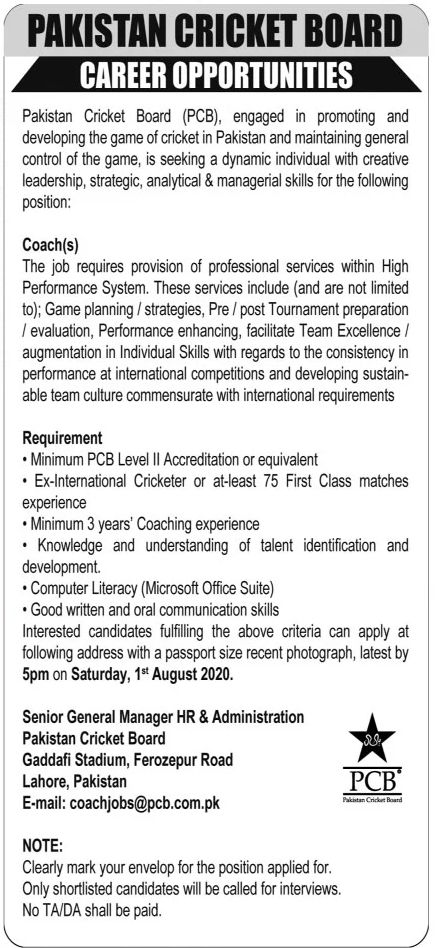 Jobs in PCB  , Pakistan Cricket Board Jobs