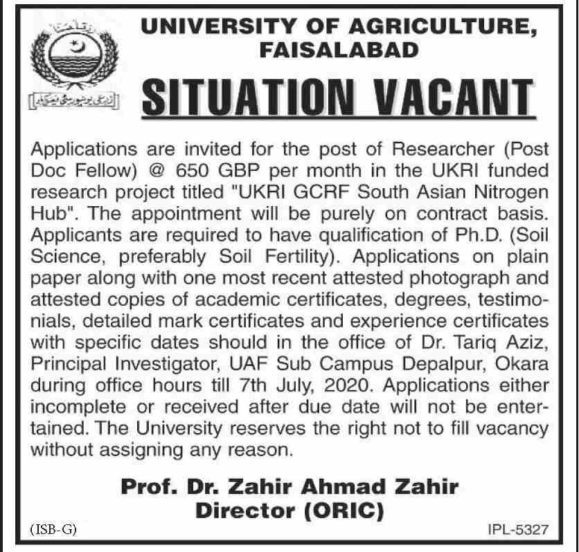 University Of Agriculture Jobs 2020