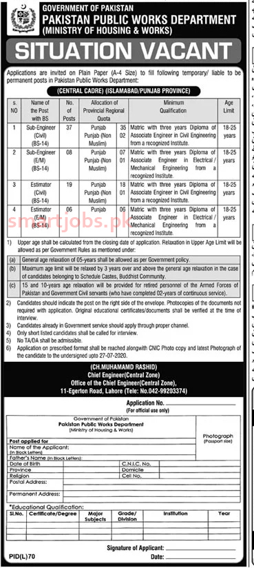 See here,Latest Ministry of Housing and Works Jobs 2020 Latest Advertisement . Download Application form for Ministry of Housing & Works  jobs