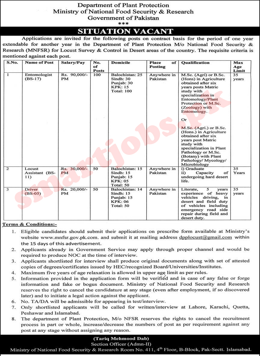 Jobs in Ministry of National Food Security and Research