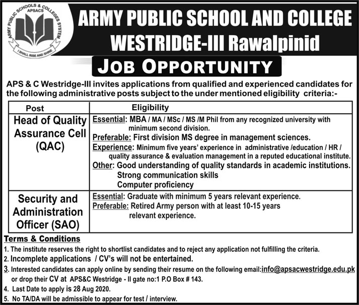 New APS Jobs, Army Public School