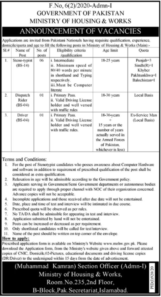 Ministry Of Housing and works Jobs 2020