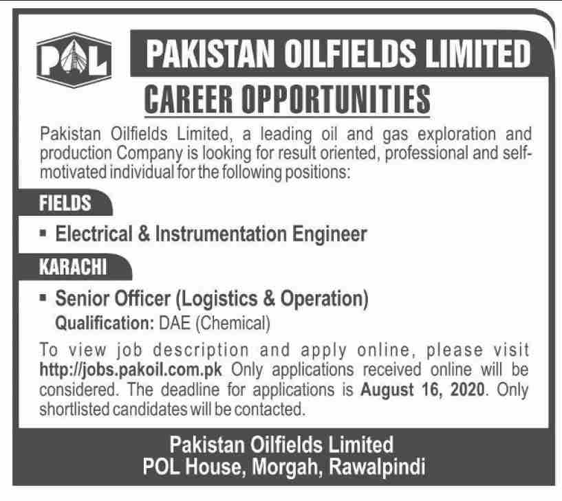 Pakistan Oil Fields Limited Jobs