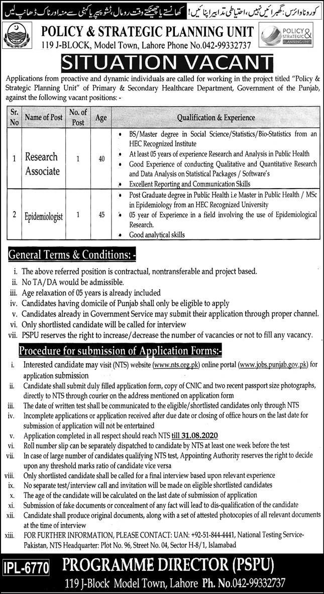 Policy and Strategic Planning Unit Government Jobs