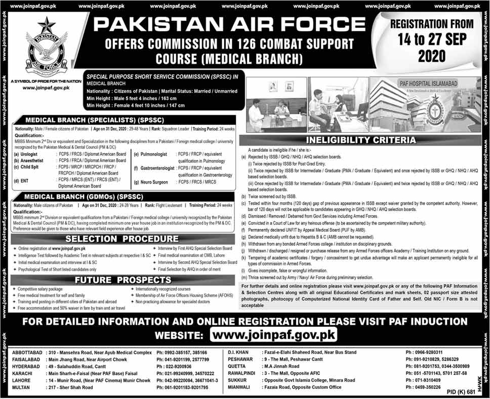Join PAF as Commission In 126 COMBAT SUPPORT COURSE