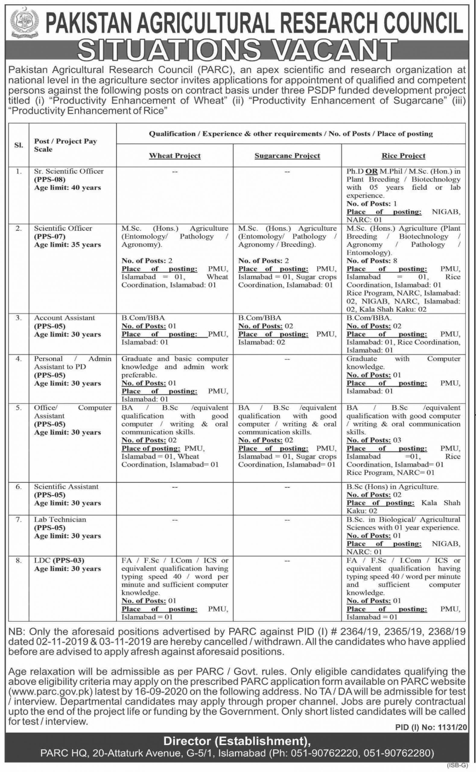 PARC Jobs Pakistan Agriculture And Research Jobs