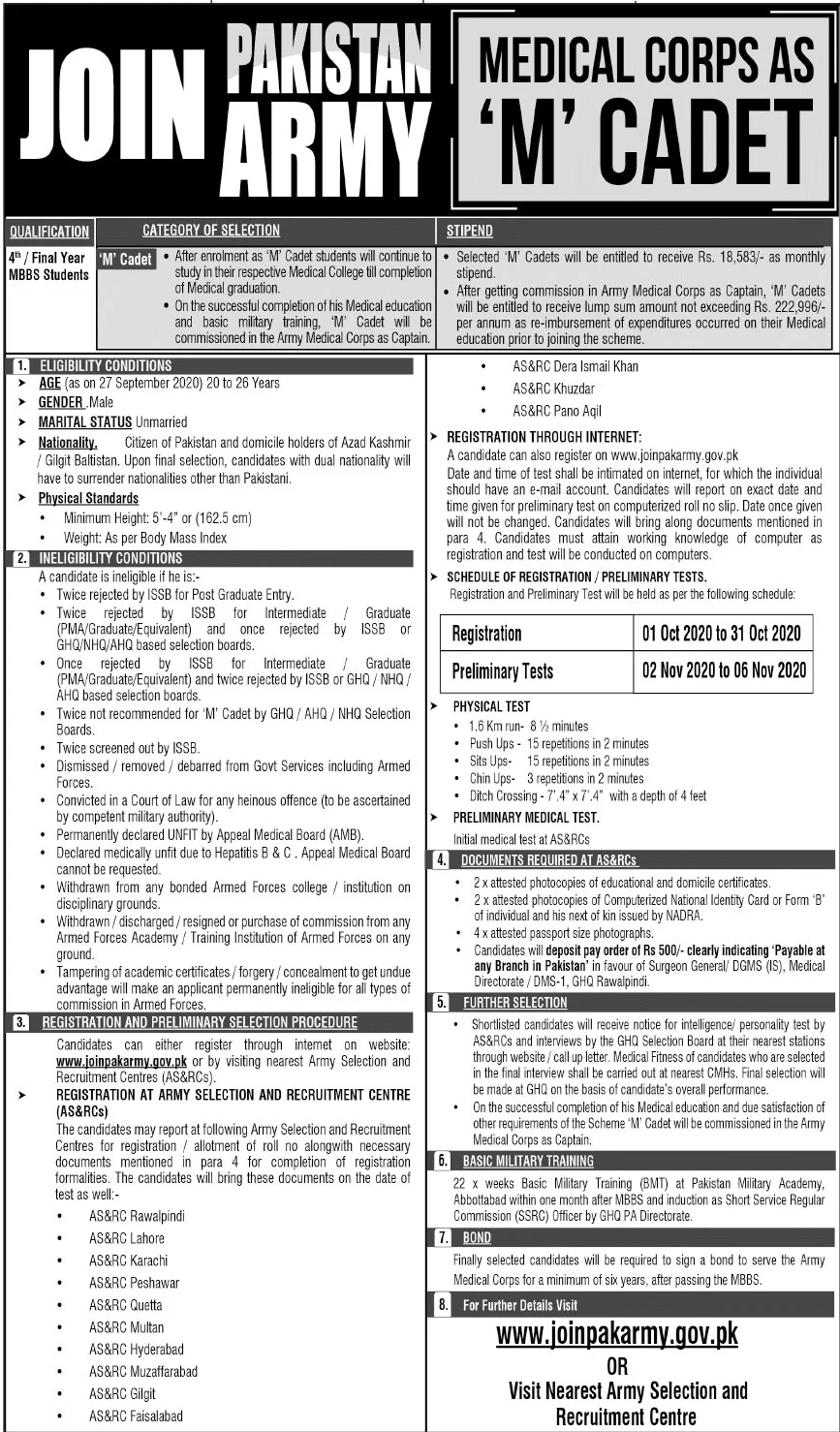 Join Pakistan Army as M cadet ,Apply Online