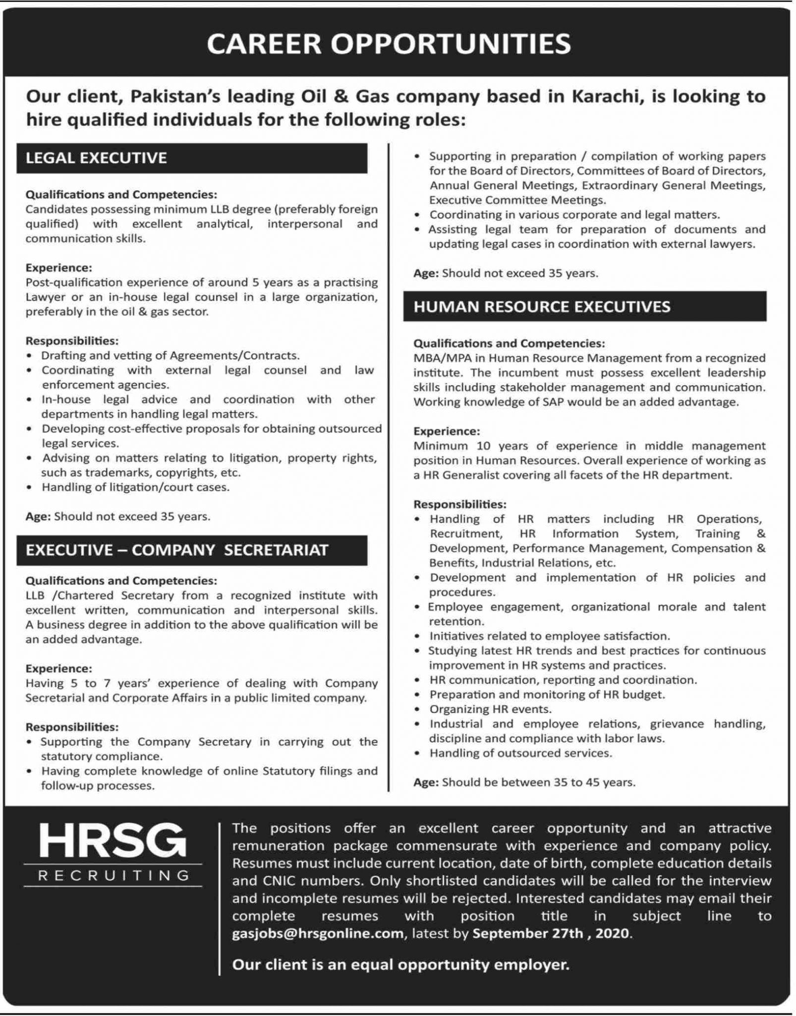 Pakistan Leading Oil and Gas Company Jobs