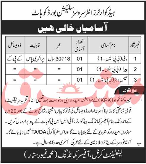 ISSB Jobs Inter-Services Selection Board ISSB