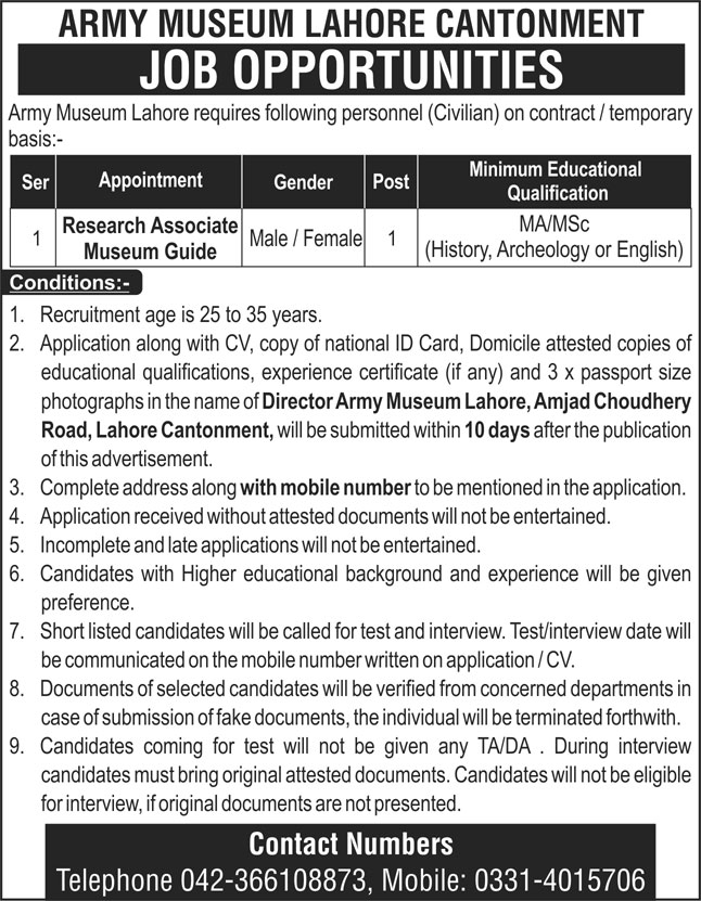 Pakistan Army Museum Jobs