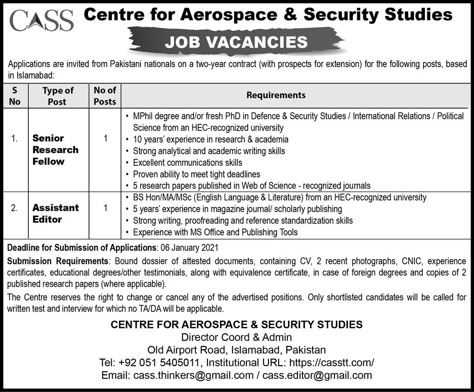Centre for Aerospace and Security Studies Jobs