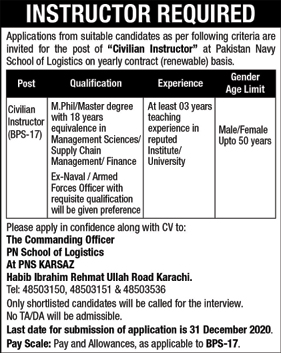 Jobs in Pakistan Navy School of Logistics