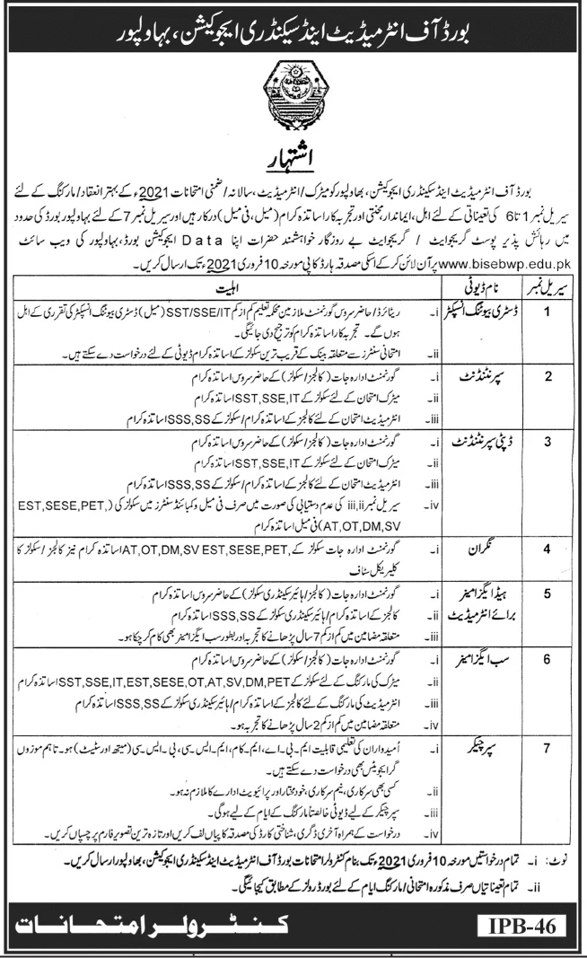 BISE Jobs 2021, Board of intermediate and secondary education Jobs 2021