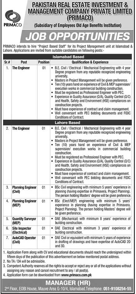 Primaco Jobs 2021, Pakistan Real Estate Investment and Management Company Jobs