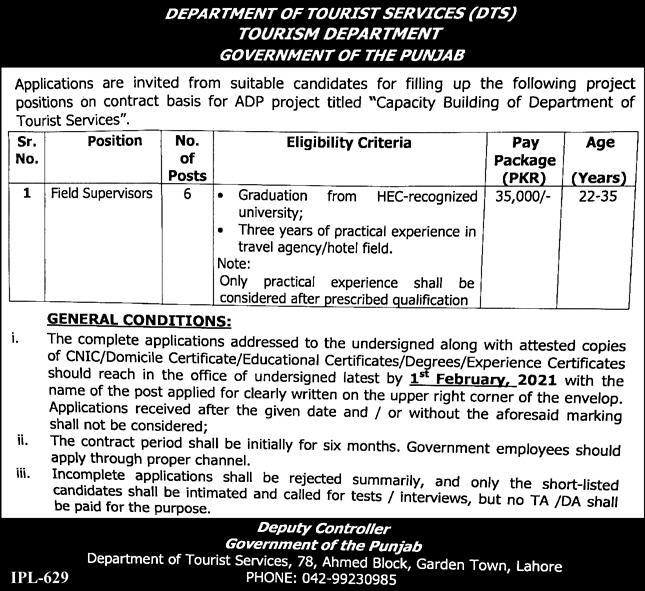 Tourism Department Punjab Jobs 2021