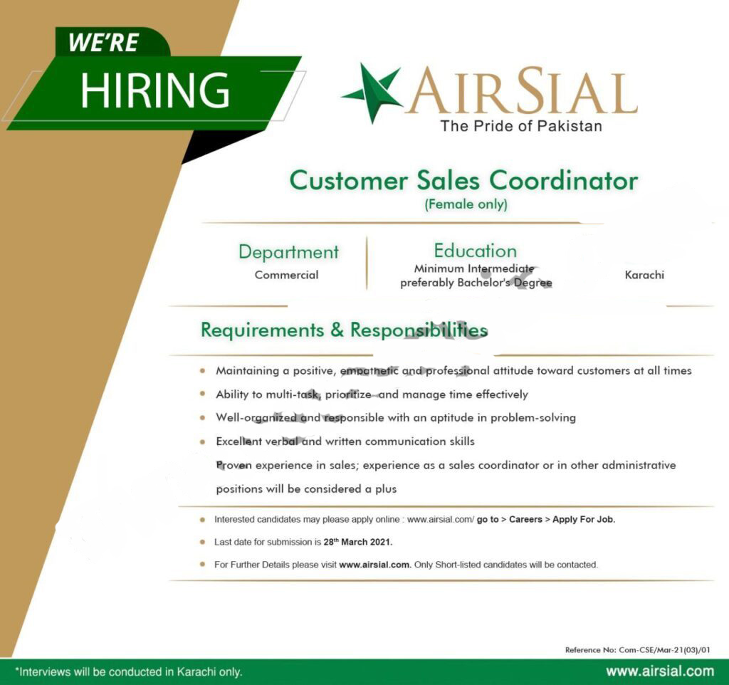 Airline jobs, New AirSial Jobs