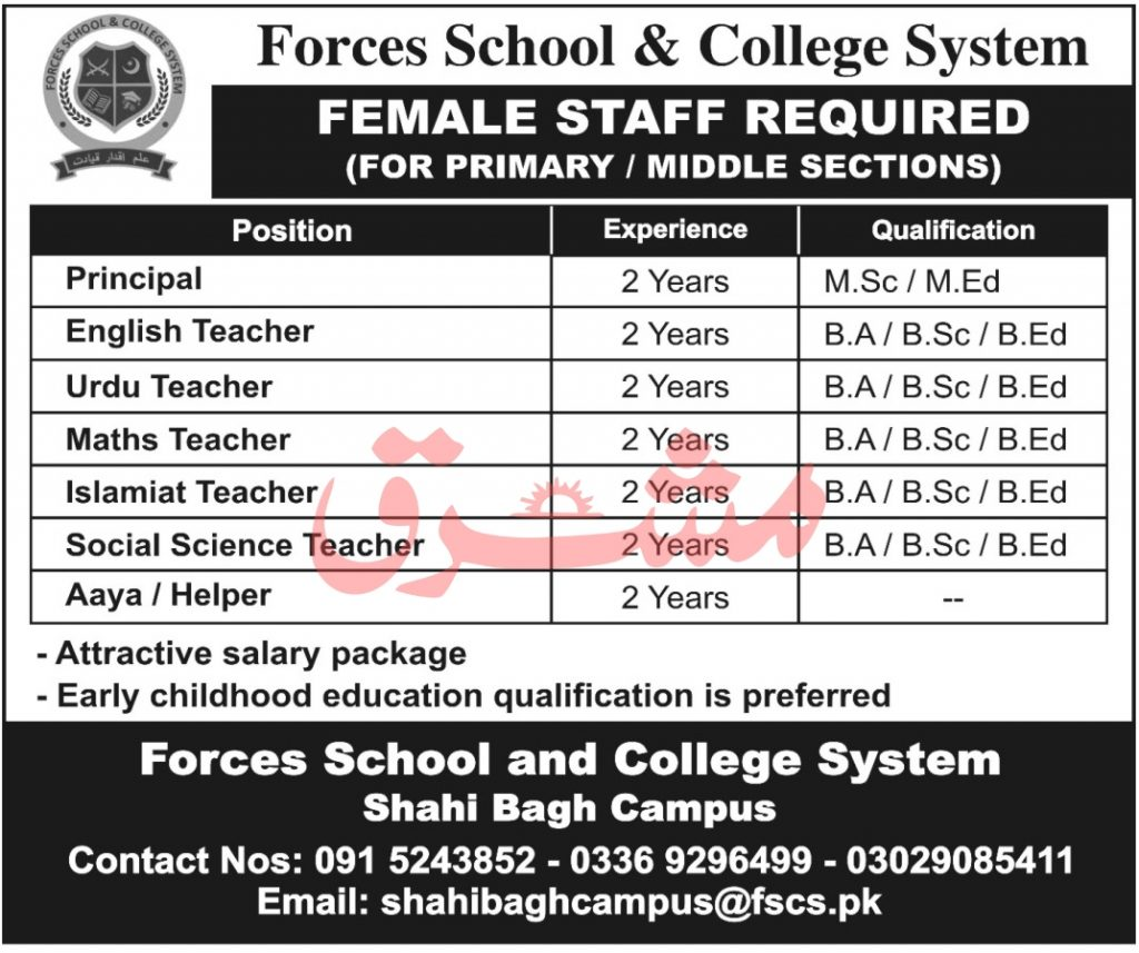 Forces School and College System Jobs