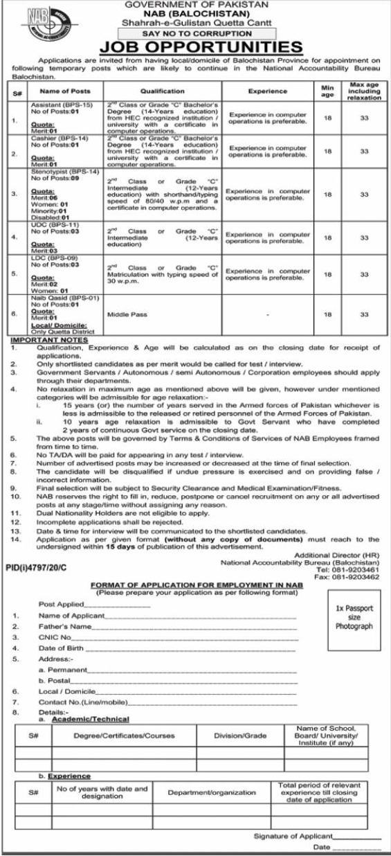 NAB Jobs 2021, National Accountability Bureau Jobs