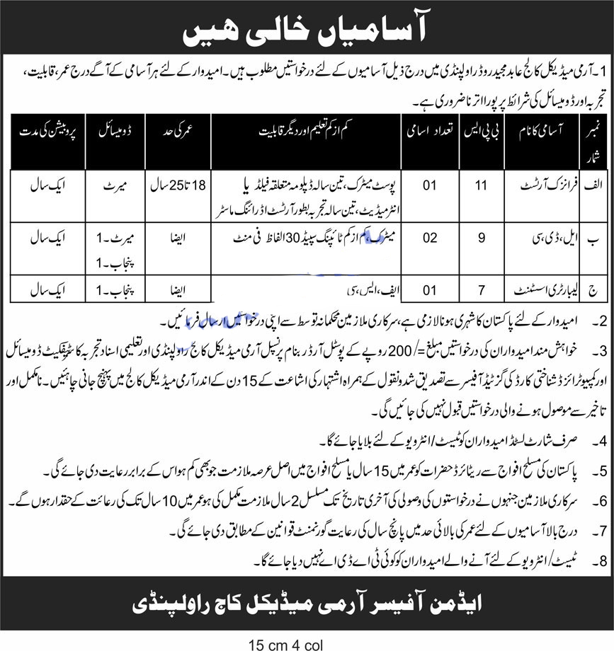 Army Medical college jobs