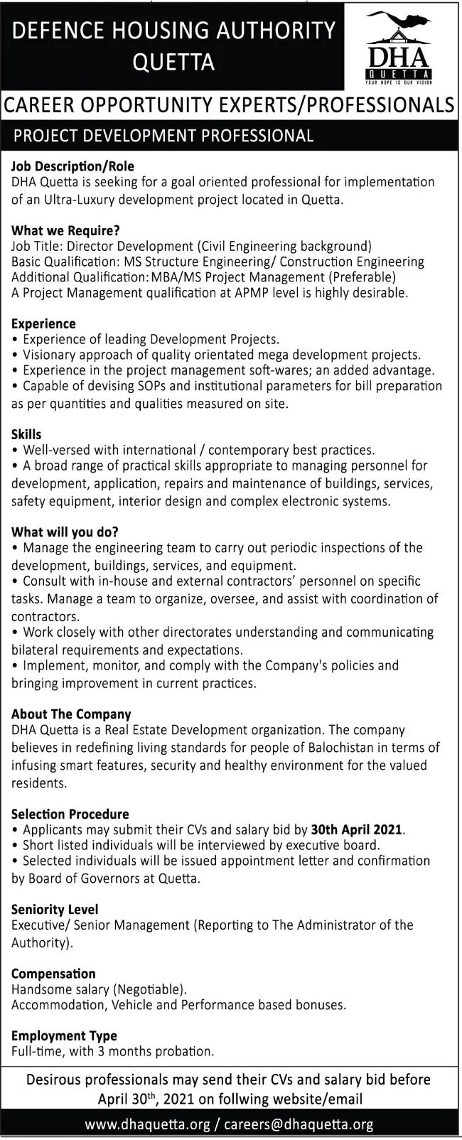 Defence Housing Authority Jobs DHA Jobs