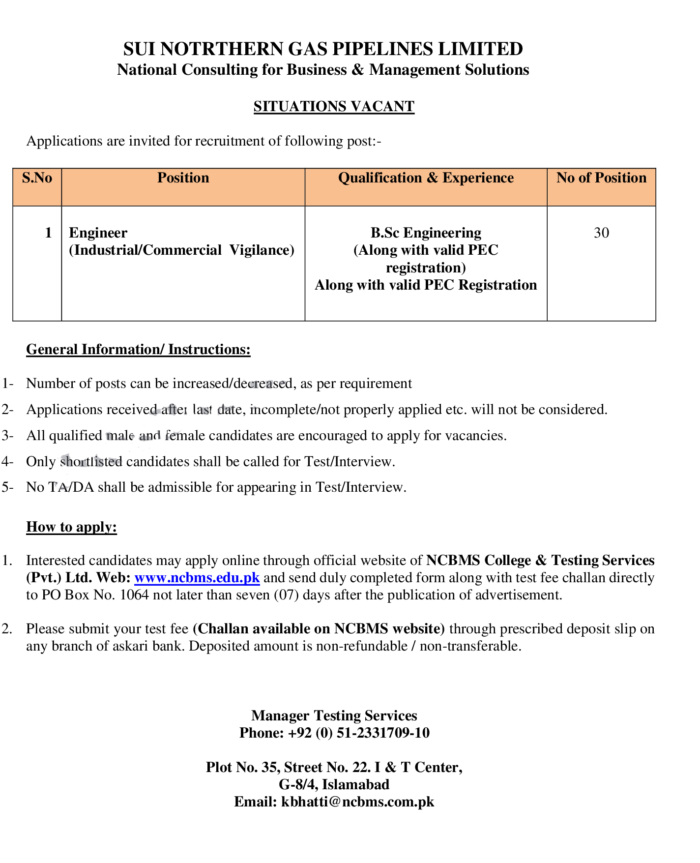 New Sui Gas Company jobs, Sui Gas Pipelines Limited jobs