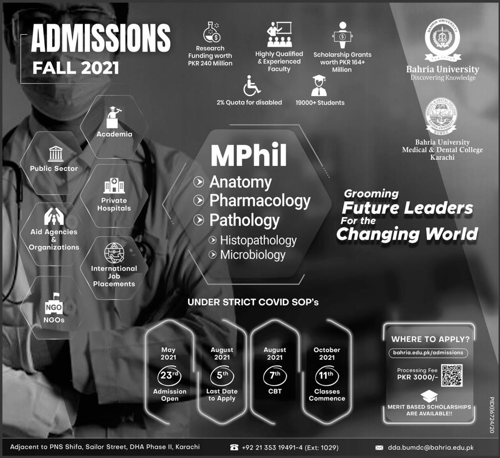 Admissions Open in Bahria University 2021