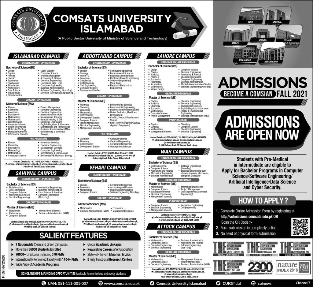 Admissions in COMSATS University 2021