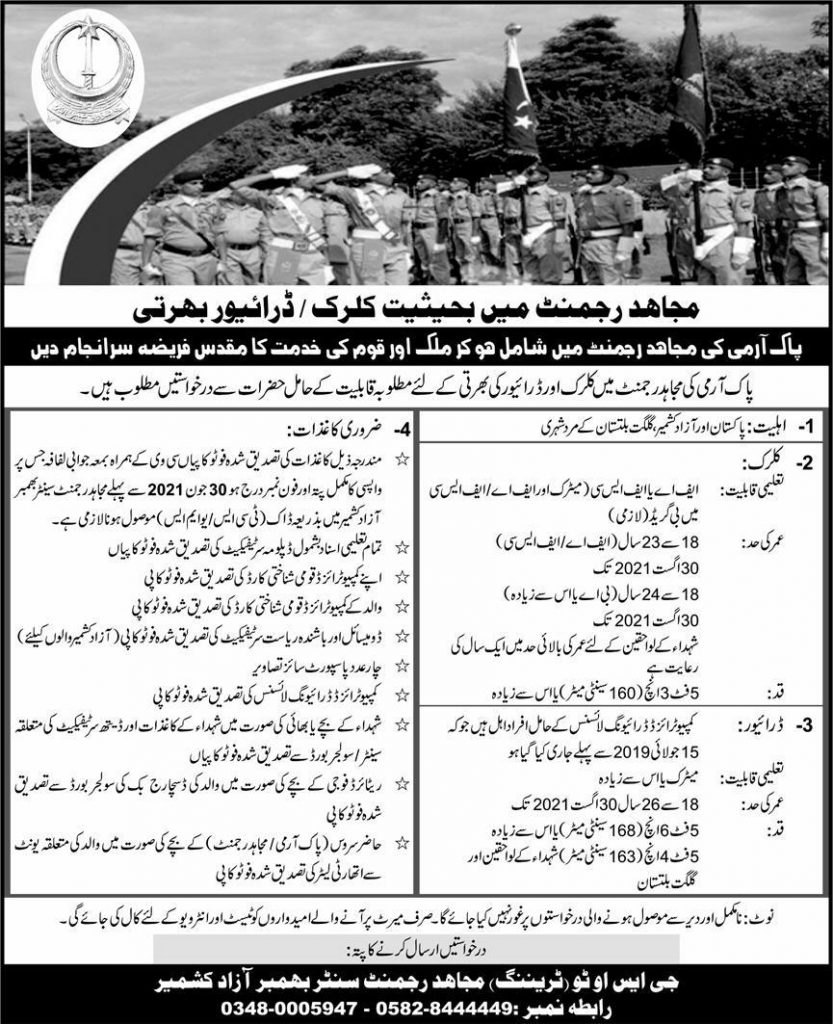 Join Pak Army Mujahid Force as Clerk and driver