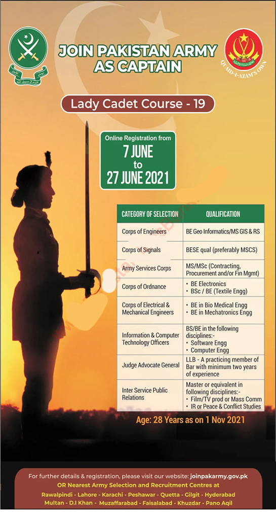join Pak Army as lcc 2021, Lady cadet Course 2021