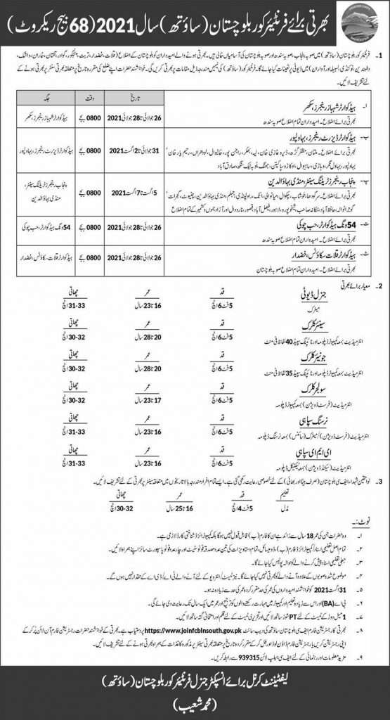 Join Pak Army FC jobs 2021