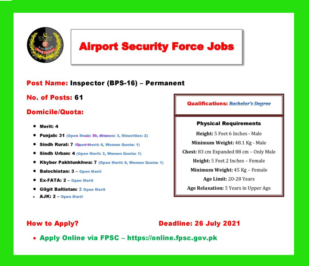 ASF Jobs 2021-Airport Security Forces job 2021