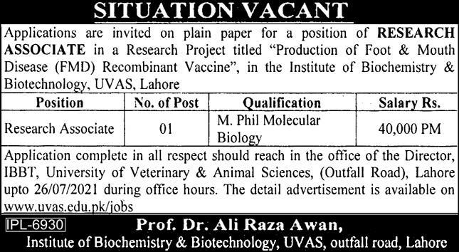 Institute of Biochemistry AND  Biotechnology Jobs