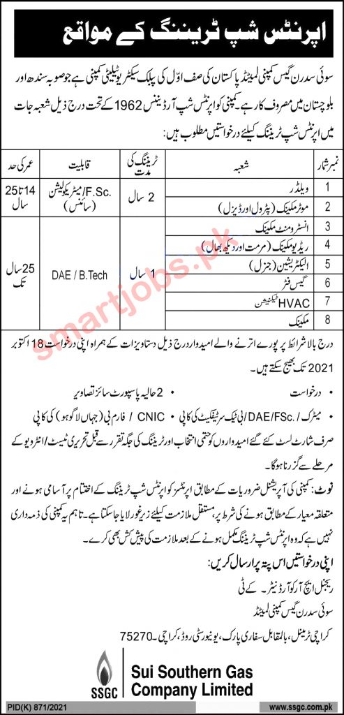Sui Southern Gas Company SSGC Apprenticeship Jobs 2021