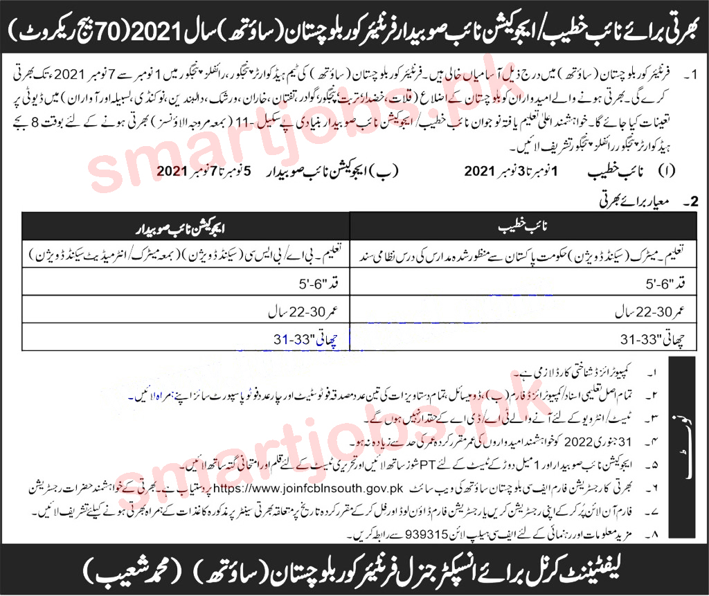 FC South Jobs 2021 Advertisement Application Form